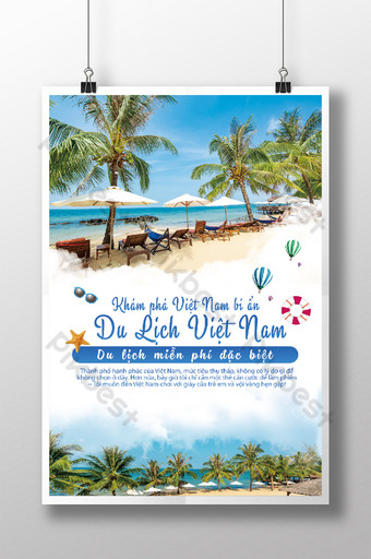 beautiful Sea landscape with you Nha Trang tour travel poster Template PSD