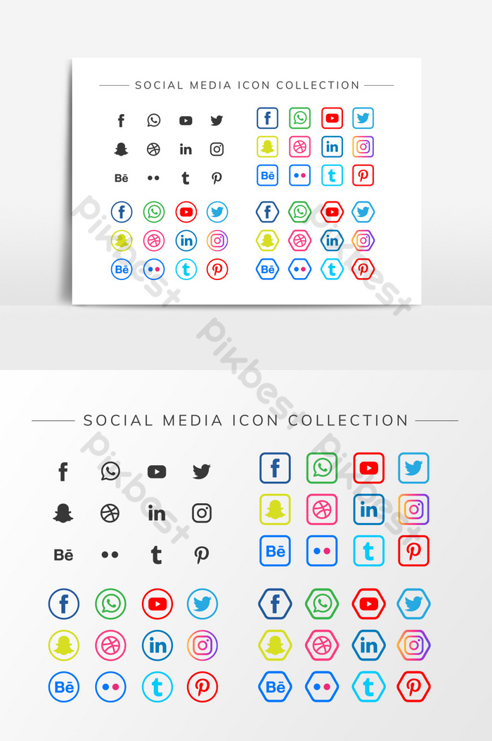 collection of stylish social media icons