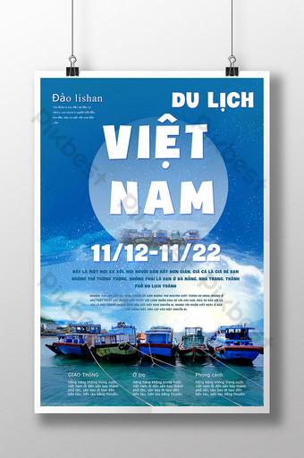 Mga isla sa Vietnam Gorgeous Scenery Travel Poster Template PSD Template PSD