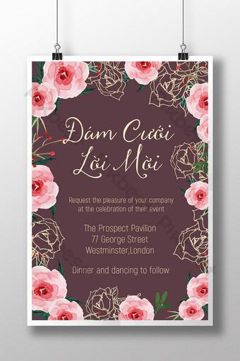 Gambar garis undangan pernikahan Vietnam dan undangan amplop bunga yang realistis Templat AI