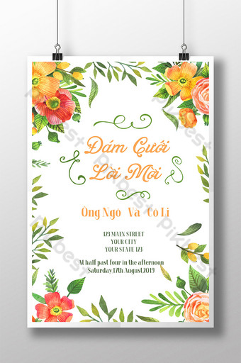 invitación de boda vietnamita línea de flores invitación natural simple Modelo PSD