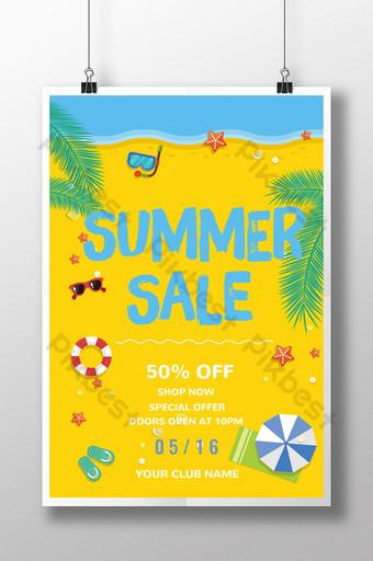promoción de verano cartel de descuento de gafas de estrella de mar de playa pintado a mano amarillo Modelo PSD