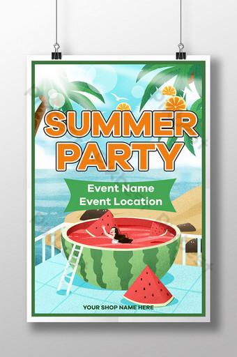 cartel de fiesta de verano en la playa y el mar y el cocotero Modelo PSD