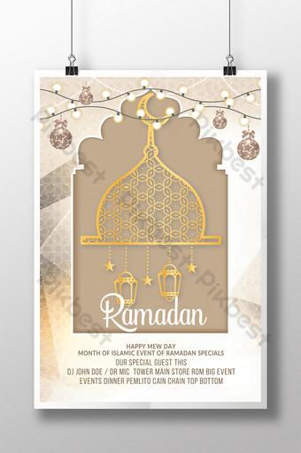 счастливые рамадан мубарак флаеры шаблоны с силуэтом и золотым контуром мечети шаблон PSD