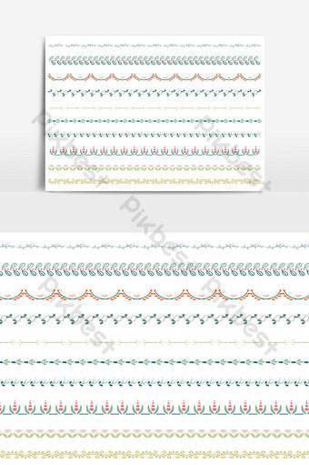 hermoso conjunto de borde de línea vectorial y elemento de diseño de garabatos 09 Elementos graficos Modelo AI