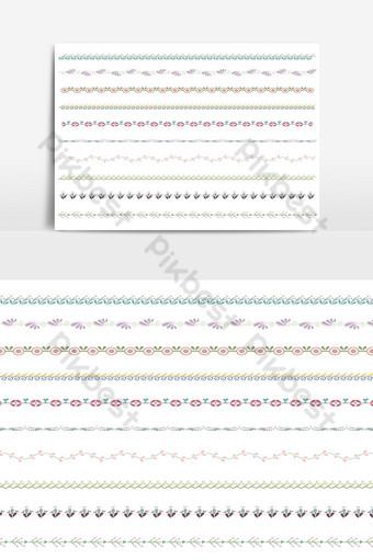 hermoso conjunto de borde de línea vectorial y elemento de diseño de garabatos 07 Elementos graficos Modelo AI