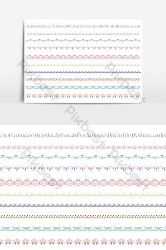 hermoso conjunto de borde de línea vectorial y elemento de diseño de garabatos 08 Elementos graficos Modelo AI