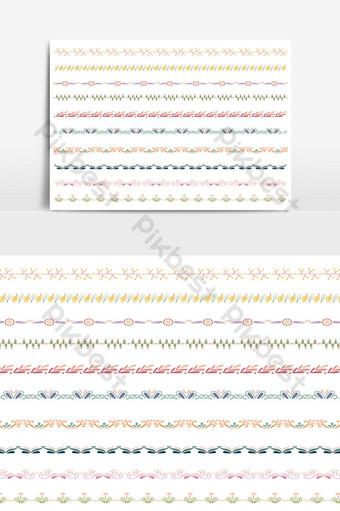 hermoso conjunto de borde de línea vectorial y elemento de diseño de garabatos 06 Elementos graficos Modelo PSD