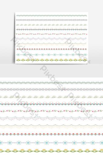 hermoso conjunto de borde de línea vectorial y elemento de diseño de garabatos 04 Elementos graficos Modelo PSD