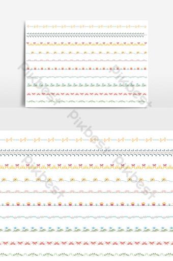 hermoso conjunto de borde de línea vectorial y elemento de diseño de garabatos 03 Elementos graficos Modelo AI