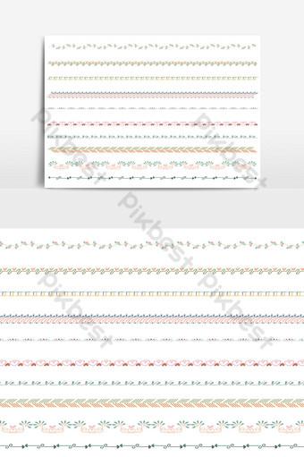 hermoso conjunto de borde de línea vectorial y elemento de diseño de garabatos 02 Elementos graficos Modelo AI