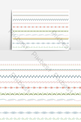 Beautiful vector line border set and scribble design element 01 PNG Images Template AI