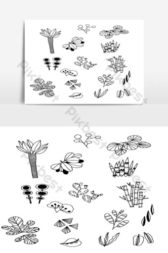 Set of Doodle Leaves hand draw vector in Outline 02 PNG Images Template AI