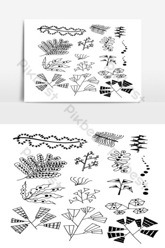Set of Doodle Leaves hand draw vector in Outline 03 PNG Images Template AI