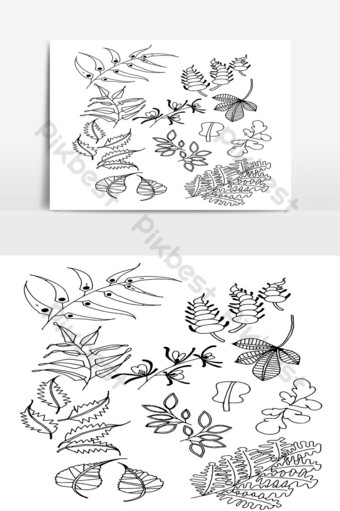 Set of Doodle Leaves hand draw vector in Outline 05 PNG Images Template AI