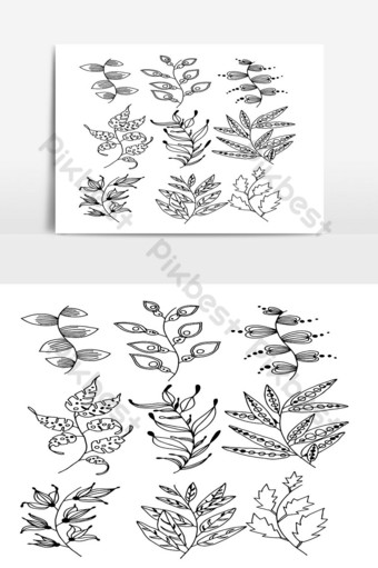 Set of Doodle Leaves hand draw vector in Outline 06 PNG Images Template AI