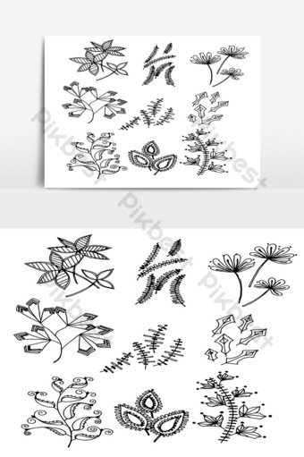 Set of Doodle Leaves hand draw vector in Outline 07 PNG Images Template AI