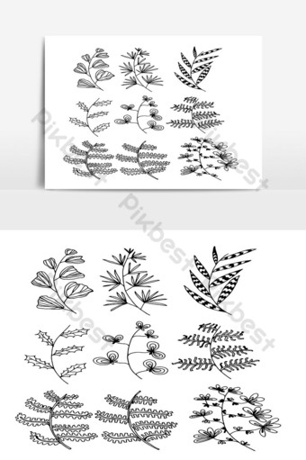 Set of Doodle Leaves hand draw vector in Outline 09 PNG Images Template AI