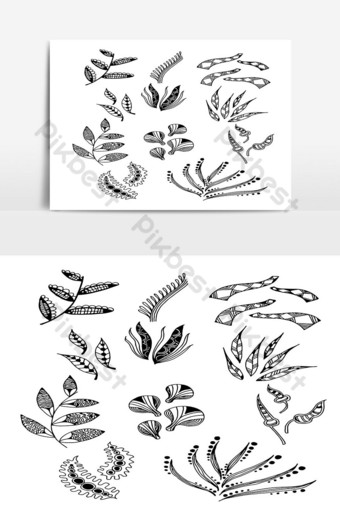 Set of Doodle Leaves hand draw vector in Outline 10 PNG Images Template AI