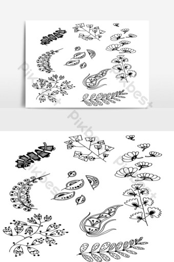 Set of Doodle Leaves hand draw vector in Outline 12 PNG Images Template AI