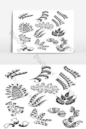 Set of Doodle Leaves hand draw vector in Outline15 PNG Images Template AI