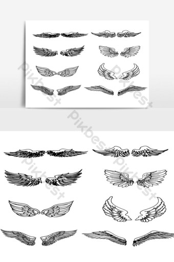 Set of Wings Hand Drawn vector in Outline 01 PNG Images Template AI