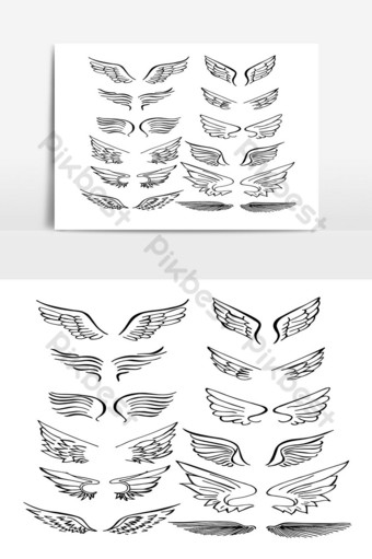 Set of Wings Hand Drawn vector in Outline 02 PNG Images Template AI