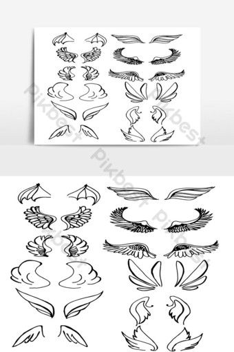 Set of Wings Hand Drawn vector in Outline 03 PNG Images Template AI