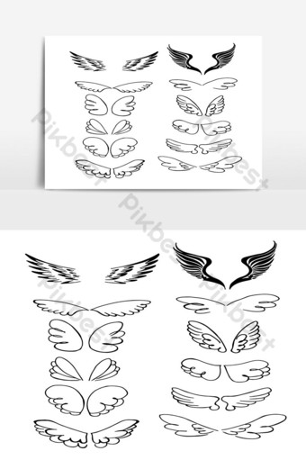 Set of Wings Hand Drawn in Outline vector 06 PNG Images Template PSD