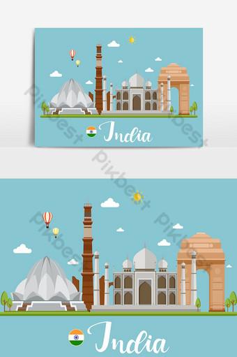الهند السفر المناظر الطبيعية التوضيح النواقل صور PNG قالب AI