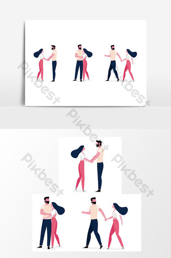 Set Of Young Couple lifestyle in love together, Illustration design 14 PNG Images Template AI