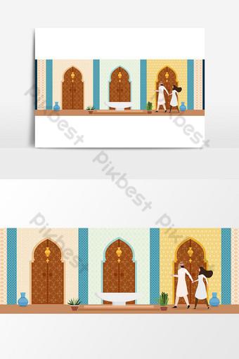 التصميم الداخلي لغرفة المعيشة على الطراز الشرقي التركي العربي أو الهندي صور PNG قالب AI