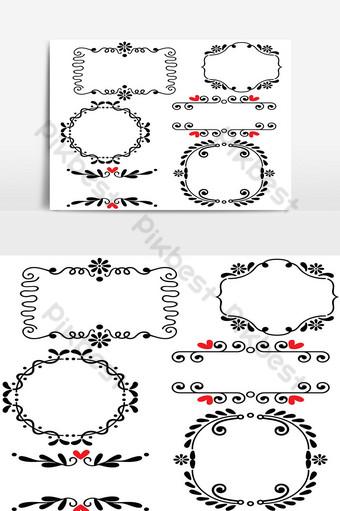 Illustration vectorielle de main dessinée ligne esquissée frontière mariage art Éléments graphiques Modèle PSD