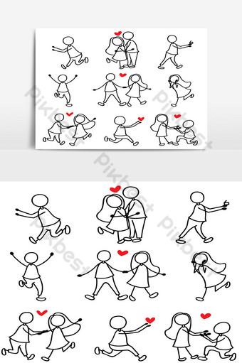 dibujo a mano de dibujos animados amor personaje pareja Elementos graficos Modelo AI