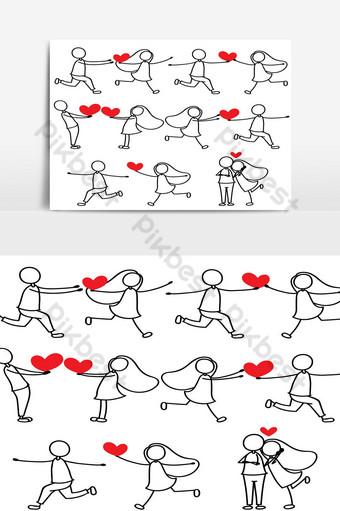 dibujo a mano de dibujos animados amor personaje pareja Elementos graficos Modelo PSD