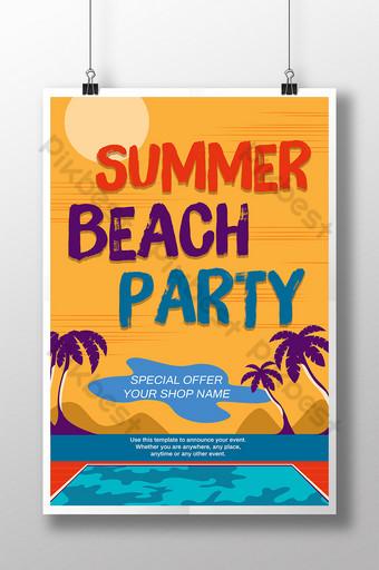 cartel retro de la piscina del árbol de coco y la puesta del sol de la fiesta de la playa de verano Modelo PSD