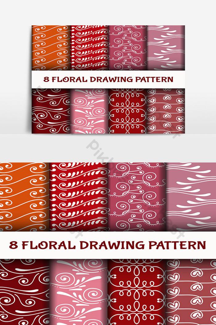 8 набор абстрактных линий искусства шаблон