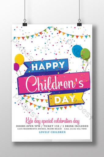 Modèle de Flyer de fête des enfants dans des couleurs assorties Modèle PSD