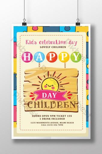 Modèle de Flyer coloré pour la journée des enfants heureux Modèle PSD