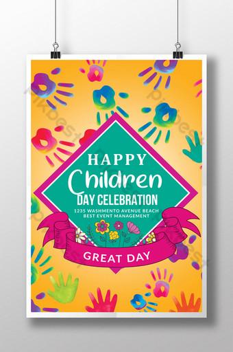 Modèles de flyers de célébration de la fête des enfants avec des rectangles assortis Modèle PSD
