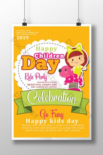 Modèles de flyers pour la journée des enfants heureux en style cartoon et couleurs assorties Modèle PSD