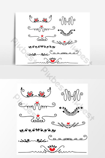 Illustration vectorielle de main dessinée ligne esquissée frontière mariage art Éléments graphiques Modèle AI