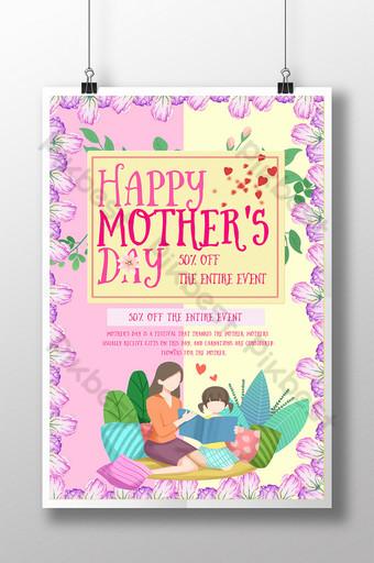 pôster quente do dia das mães cravo quente pôster do dia das mães Modelo PSD