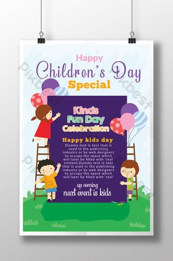 Affiche et flyer de la journée des enfants heureux en style cartoon Modèle PSD