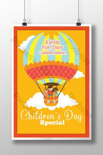Flyer de la journée des enfants avec ballon à air chaud en style cartoon Modèle PSD