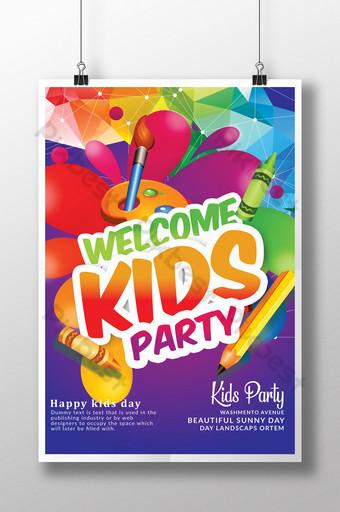 Modèles de flyers Welcome Kids Day dans des couleurs arc-en-ciel assorties Modèle PSD