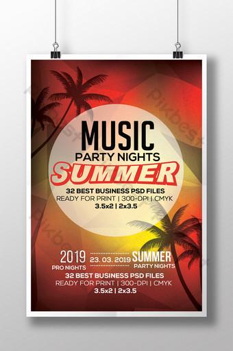 Plantilla de volante de fiesta de música de verano con siluetas de árboles de coco Modelo PSD