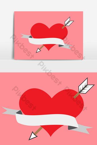corazones con flechas y cintas Elementos graficos Modelo AI