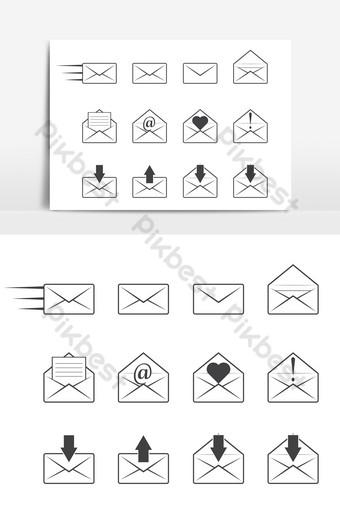 Conjunto de iconos de correo sobre un fondo blanco. Elementos graficos Modelo AI