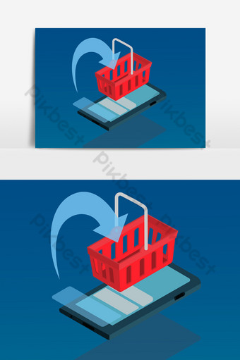 Mobile phones, smartphones and shopping carts PNG Images Template AI